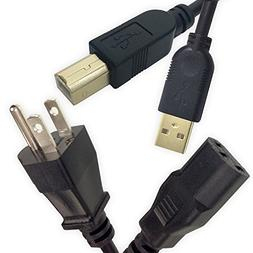 Ipax 10 Feet Long USB 2.0 Printer Cable and 3-Prong Power Co